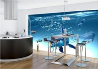 Wholesale dolphin wallpaper for walls for sale - Group buy WDBH custom photo d wallpaper Blue ocean dolphin background painting children s room home decor d wall murals wallpaper for walls d