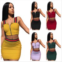 Wholesale 2xl vests for sale - S XL Summer Women Stripes Patchwork Zip Halter Tank Top Mini Dress piece Set Sling Vest Short Bodycon Skirt Outfit Club Wear New C42603