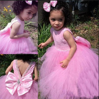 Wholesale big flower prom dresses resale online - Sweet Little Girls Birthday Party Gowns with Big Bow Beading New Long Tulle Flower Girl Dress For Wedding Custom Made Prom Dress