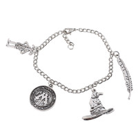 Wholesale hook movies for sale - Group buy Movie Charm Bracelet Ancient Silver Pendant Bracelet Talking Hat Wingardium Leviosa Dobby Coin Charm Bangle Cuff Jewelry Christmas Gift