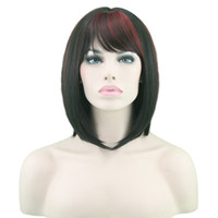 medium haar pony groihandel-Burgund Medium gerade Perücken Qualitäts-synthetische Haar-Spinnen Oblique Bangs seidiges Haar Raw Top Hair Dichte Cosplay Partei-Perücken