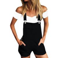 bib tulum denim toptan satış-Kadın Gevşek Denim Önlük Delik Pantolon Tulum Kot Demin Şort Önlük pantolon Cepler Rave Botton Rahat Streetwear Rahat Szorty Sıcak
