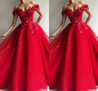 Wholesale sequins prom dresses sweetheart for sale - Elegant One Shoulder Red Prom Dresses Arabic Off Shoulder Appliques Sequins A Line Vestidos Long Evening Gowns Celebrity Pageant Gowns