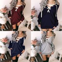 dantel sweatshirt toptan satış-Kadın Moda Katı Renk Elbise Düşük Kesim Dantel-up Cep Rahat Kazak Sonbahar ve Kış Seksi Derin V Boyun Yan Bölünmüş