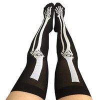 sobre joelho meias cosplay venda por atacado-Crânio engraçado Cosplay Props sobre o joelho Padrão Meias Halloween Costume Sangue Forked óssea Mulheres Cosplay Terror Meias de sangue