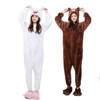kahverengi takım elbise toptan satış-Yumuşak Çift Kigurumi Kahverengi Ayı Onesie Yetişkin Hayvan Cony Bunny Kostüm Karikatür Pijama Komik Cosplay Parti Cadılar Bayramı Suit