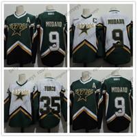 ingrosso misurazione jersey hockey-Uomo Dallas Stars # 9 Mike Modano 2005 Verde Bianco Vintage Jersey # 35 Marty Turco 2003 CCM Home Cucito Retro Hockey Maglie Taglia S-4XL