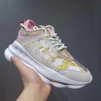 zapatos de vestir de mujer de gran tamaño al por mayor-Nueva moda CHAIN REACTION zapatillas para hombre mujer diseñador de cuero real zapatillas de lujo zapatos de vestir informales tamaño grande 12