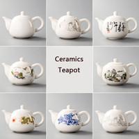 çaydanlık çay demliği çaydanlığı toptan satış-Seramik Çaydanlıklar Yixing Çay Potu Beyaz Porselen Çay Setleri Çin Demlik Benzersiz Su Isıtıcısı Kung Fu Teaset Demlik Çin Çay Bardak D001