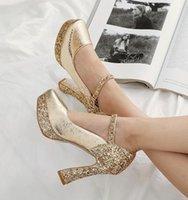 büyük kalın topuklu toptan satış-Büyük küçük boyutlu 32 33 41 42 43 40 altın, gümüş payetli tasarımcı topuklar moda kalın yüksek topuklu gelinlik ayakkabıları