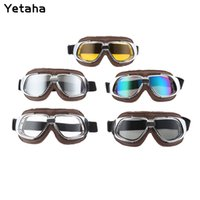 Wholesale woman cycling helmets for sale - Group buy Anti UV Motocross Helmet Goggles Motorcycle Eyewear Glasses Vintage Pilot Biker Leather For Cycling Bike ATV Goggle Lens Color