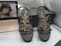 seksi düşük ayakkabılar toptan satış-2019 Marka yeni Seksi ayakkabı Kadın Yaz Toka Askı bambu ortak Sandalet Düşük topuklu Düz ayakkabı Yuvarlak ayak Moda Tek Flatforms
