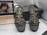 nuevo verano sandalias de tacón bajo al por mayor-2019 Nuevos zapatos sexy Mujer Verano Hebilla Correa Bambú Sandalias conjuntas Zapatos planos de tacón bajo Punta redonda Moda Single Flatforms