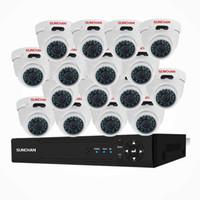 sistemas de vigilancia 16 al por mayor-SUNCHA 16 canales Cámara de CCTV Sistema de seguridad 16 canales 1080N DVR 16 * 1080P Cámaras HD Equipo para videovigilancia de video en interiores y exteriores