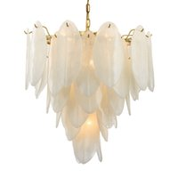 Wholesale feathers 25 inches online - Modern White Glass Chandelier Art Lighting New Fixture Feather Suspension Lamp For Living Room Bedroom Home Lighting H128