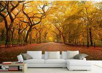 pintura dimensional parede 3d venda por atacado-Papéis de parede de ouro 3D tridimensional madeiras de outono maple folhas paisagem pintura de parede pintura decorativa