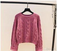 suéteres de cintura al por mayor-2019 estilo europeo y americano Vintage de cintura alta Suéter clásico de sección corta tres tops sueltos de color para mujer