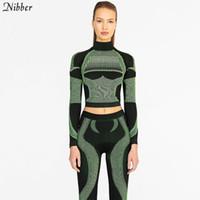 leggings azul verde al por mayor-Nibber mujer moda fitness sporting 2019 nuevo azul verde Active Wear dama elástica leggings de cintura alta impresos a rayas 3D trajes