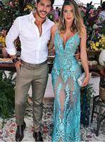 zarif seksi üniforma elbise toptan satış-Turkuaz Arapça Zarif Gelinlik Modelleri 2020 Düşük Kesim Ünlü Abiye giyim Spagetti Sapanlar Mermaid Dantel Örgün Elbiseler