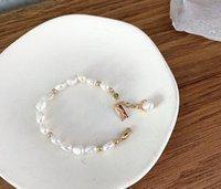 corea joyas de lujo al por mayor-Diseñador de lujo de Agua Dulce Natural Pulsera de Perlas Irregular Perlas de Oro Pulseras de Moda Joyería Estilo de Corea Venta Caliente