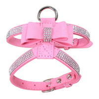 Wholesale rhinestone dog cat collar resale online - Bling Rhinestone Pet Puppy Dog Harness Velvet Leather Leash for Small Dog Puppy Cat Chihuahua Pink Collar Pet Products