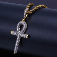 Wholesale gold ankh chain for sale - Group buy Hip Hop Rock Necklace Gold Color All Iced Out Micro Pave CZ Stone Ankh Cross Pendant Necklaces With cm Rope Chain