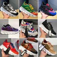 ingrosso marchio logo scarpe-Con Box 2019 Nuova Catena Reaction Trainer Leggero Suola in rilievo Logo Luxury Fashion Casual Designer Uomo Donna Scarpe Sport Sneakers