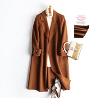 cardigans de lana roja al por mayor-Navy Buckle Cashmere High-end Woolen Loose Coat 100 Wool Brick Red Two-sided Buddhist Nun Overcoat 2019 Nuevas chaquetas para mujeres cardigans Caliente