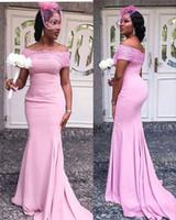 dantel aplikleri toptan satış-Straplez Pembe Mermaid Gelinlik Modelleri 2019 Aplike Dantel Lüks Leke Ile Afrika Kadınlar Uzun Onur Hizmetçi Elbise Parti Düğün Konuk