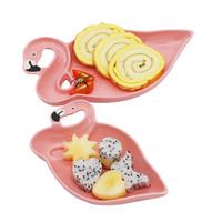 ingrosso set di stoviglie-3D Flamingo Rosa Set di piatti in ceramica Piatti Decorazione Piatti Spuntini Frutta Dessert Cibo Cena Stoviglie Accessori Articoli