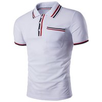 Wholesale polo blue online - Fashion Men s Polo Shirts with Color Strip Stitching Code Lapel Hot Trend Designer Polo Shirts for Men Casual Summer Men s Polos S XL
