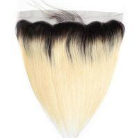 613 fermeture frontale blonde achat en gros de-1B / 613 Brésilien Droit Ombre Frontal 13x4 Oreille à Oreille Fermeture Cheveux blonds T1b / 613 100% non-remy Extensions de Cheveux Humains
