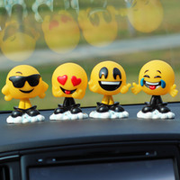 Wholesale car shaking head dolls resale online - Car Ornaments Cute Resin Funny Expression Shaking Head Dolls Decoration Swinging Head Emoji Toys In Car Auto Decor Accessories