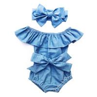 roupas bodysuit venda por atacado-Infante bonito recém-nascido Toddle Bebés Meninas Frente bowknot Bodysuit Ruffle mangas Jumpsuit roupas de verão roupas de algodão 0-24M