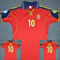 futbol forması gömlek ispanya toptan satış-2000 RAUL Spain Soccer Jersey İspanya Futbol Forması Retro Futbol Forması Eski Maillot Recoba Futbol Gömlekleri İspanya RAUL Futbol Forması Futbol Forması Maglia da Calcio