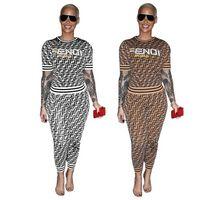 ingrosso stampa le donne pantaloni più il formato-Fashion 2 Pezzi Sets Donna Sporting Tuta 2019 New Summer Letter Stampa Sets Tops + Pants Plus Size S-XXXL