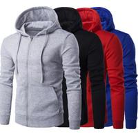 sweat à capuche achat en gros de-Drop shipping MoneRffi Hommes de couleur unie à capuche zippée à capuche hommes de couleur unie sweat à capuche casual vêtements de sport