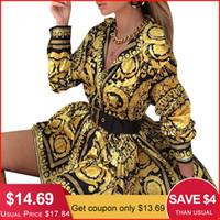 mini vestido sexy estampado animal al por mayor-Glamaker Sexy Paisley Vintage Print Gold Dress Mujeres Holiday Beach Vestido Corto Verano Elegante Club de Fiesta Vestido de Gran Tamaño Robe MX19070307