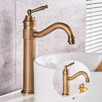 Wholesale vanity wash basins resale online - Antique Brass Single Handle Bathroom Basin Faucet Swivel Spout Wash Basin faucet Single Hole Vanity Sink Mixer Tap KD072