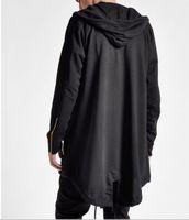 casacos longos venda por atacado-Mens Casaco Hip Hop Comprimento Longo Casaco Blusão Com Capuz Solto Cor Sólida Streetwear Harajuku Trench Coat Men Tamanho Grande