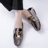Wholesale black shining shoes for men resale online - Eagle Head Shining Lazy Shoes for Men Sport Shoes Gold Silver Clear Doug Male Trendy Luxury Loafers Big Plus Size