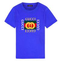 fábrica de tutu al por mayor-Fábrica ventas niños 100% algodón de manga corta marca diseñador carta manga corta camiseta chico niña manga corta / camisa