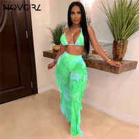 Discount high plus size swimwear Neon Green Hollow Out Bodysuit + Ruffle Mesh Pants Bikini Set Two Piece Swimsuit Women Plus Size Swimwear Dropshipping