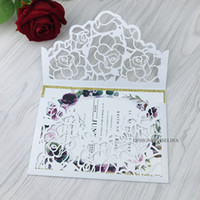 Wholesale marriage invitations cards for sale - Group buy White Floral Printing Wedding Invitations Color Gold Glitter Laser Cut Invitation Cards With Envelope for Marriage Quinceanera Invites