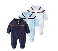 Wholesale european style clothes for kids resale online - 2020 New arrival baby clothes Baby cotton thin Lapel Long sleeves Bee Embroidery summer dress for boys and girls designer kids clothes