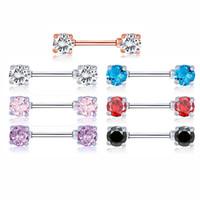 brustwarzen strasssteine großhandel-Edelstahl Nippel Ring Kristall Nippel Ring Strass Piercing Schmuck für Frauen
