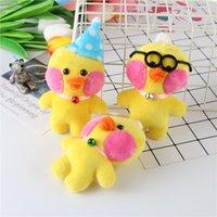 peluche pato amarillo al por mayor-Pequeños patos amarillos juguetes de peluche adornos accesorios con llavero regalos decorar bolsa colgantes algodón PP 3 estilos