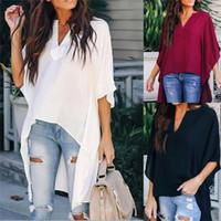 ofis giyim topları toptan satış-Kadın V Yaka Şifon Bluz Nedensel Batwing Kollu Gömlek Bayanlar Moda Gevşek Bayan Tops ve Bluz Ofis Iş Elbisesi