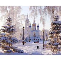 Wholesale diy digital painting resale online - snow castle Landscape DIY Digital Painting By Numbers Modern Wall Art Canvas Painting Christmas Unique Gift Home Decor x50cm