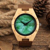 зеленые часы оптовых-Мода деревянные часы кварцевые мужские часы Marbal зеленый дисплей натуральная кожа ультра-легкий натуральный наручные часы человек reloj masculino